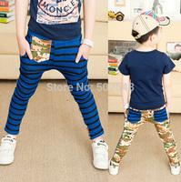 2015 Spring Baby Children Cotton Pants Boys Stripe Patchwork Long Pants #5011 Kids Clothing Free Shipping 5 PCS
