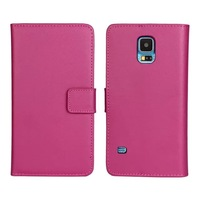 30pcs/lot Book Style Magnetic Stand Genuine Leather Case With 3 Credit Card Slots For Samsung Galaxy S5 i9600, Free Shipping