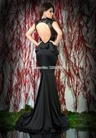 2014 Sale Vestido De Festa Longo New Arrival Free Shipping Elegant Long Evening Dresses V-neck Applique Shining Sequins Dresses_
