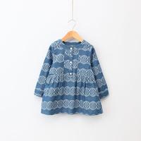 2015  Spring girl soft folk style denim dress