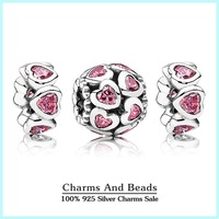 Authentic 925 sterling silver pave pink hearts charms sets valentine's day gift jewelry sets for women diy bracelets NS93