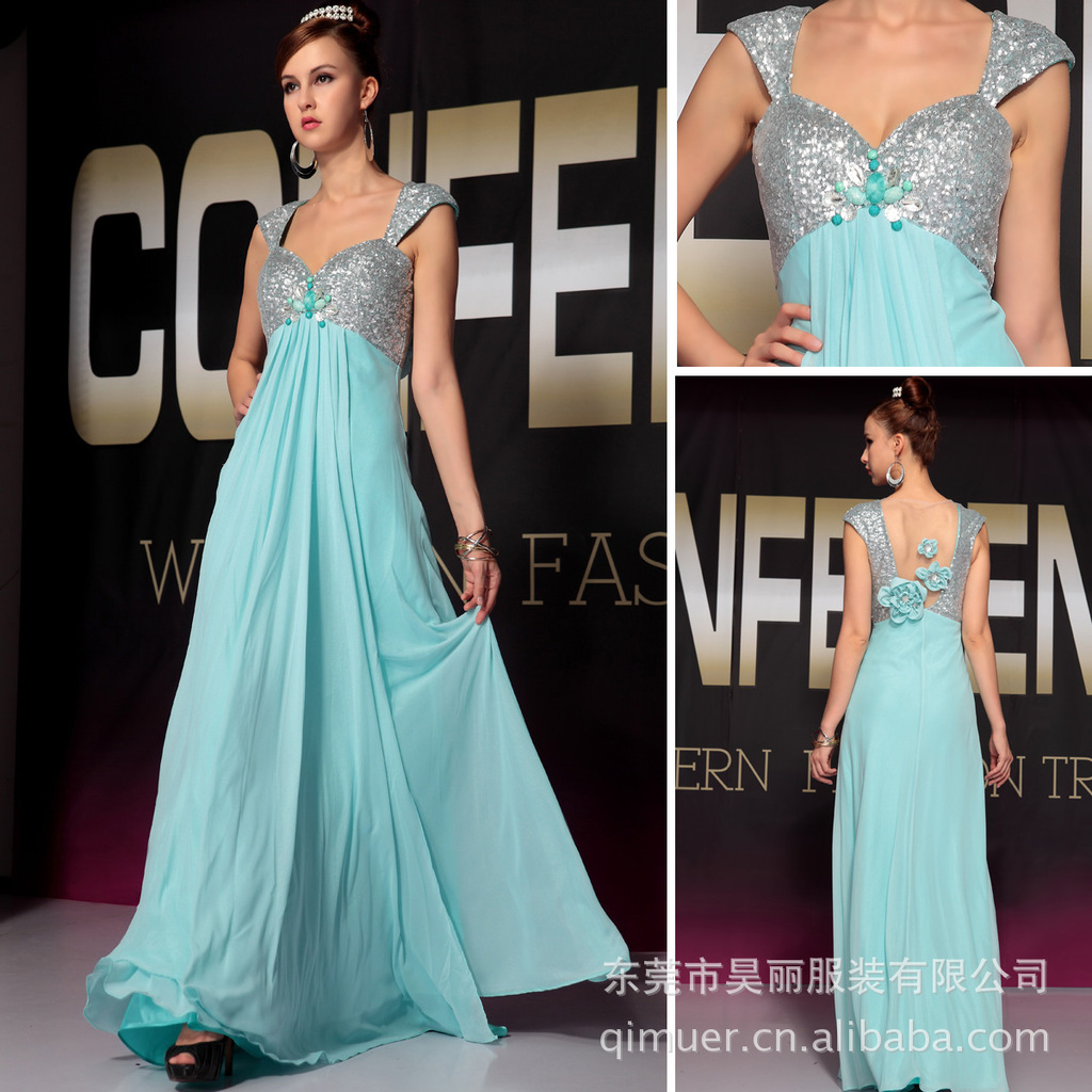 y Qi deep V packet arm evening dress high-grade cocktail party dress company annual meeting dress group of Greek goddess(China (Mainland))