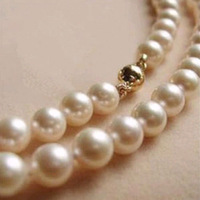 9-10MM White Akoya Pearl & 14K GOLD Necklace AAA