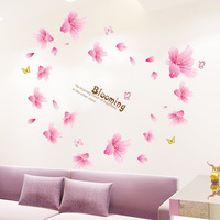 Home Decor Environmental Removable Wall Sticker/ Wallpaper /Background/Wedding Decoration-Pink Flowers