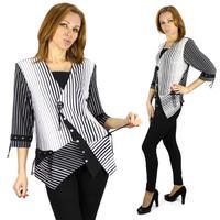 New 2015 Spring Fashion Women Striped Irregular hem T Shirts Three-quarters sleeves Tops For Lady plus size 6xl 0908