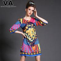 VA Womens Brand 2015 Spring Fashion  Novelty Print Slim Sheath O Neck Mini Vintage Plus Size Dresses Clothing XXXL 4XL 5XL W0620