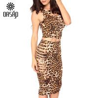 OASAP Women  Wild Leopard Shredding Dresses  BodyconTwo Piece Dress Vestidos Femininos Club dresses