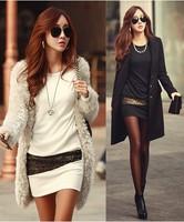 2015 Vestidos Winter Dress White Plus Size Casual Dress Black Gold Print Patchwork Mini Batwing Long Sleeve Sexy Women Dress