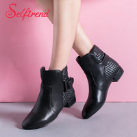 New women's boots fashion female shoes autumn and spring ankle boots heels woman mixed PU leather sapatos femininos 4