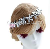 Free Shipping!2015 New Romantic Bridal Hair Bands Rhinestone Flower Ladies Headband Wedding Accessories Hair Jewelry