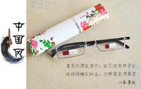 TR90 semi-rim China wind blue and white porcelain pen holder men women reading glasses +1.00+1.50+2.00 +2.50+3.00+3.50+4.00