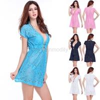 free shipping 2015 women summer Bohemia beach bikini swimwear cover-up lace cover ups pareo tunic dress