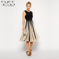 SMSS 2015 new spring and summer  splicing Contrast color chiffon sweet princess dress