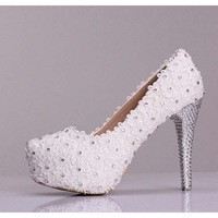 Luxury Lace Crystal Leather White Design Lady Women High Heel Shoe Pump For Wedding Bridal Gown Prom Party Evening Dress(MW-060)