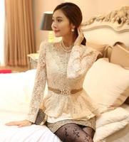 S-XL 2015 Spring New women's Lace dress shirts Pearl Diamonds Fashion Lady slim Peplum Blouses Cute lace blouse tops  T-047