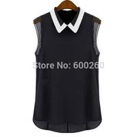2015 new Women's Chiffon Shirt Spring Summer Brand Casual Blouse Shirt Turn-down Collar Fashion Sleeveless Shirt hot sale