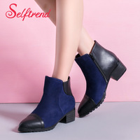 New women's ankle boots fashion ladies red and blue boots female mixed PU leather shoes autumn spring flat sapatos femininos 4