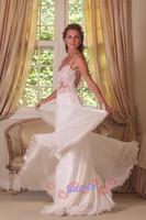 New Custom Made White/ivory Spaghetti Straps Beach Chiffon With Embroidery Floor-length Wedding Dresses Free Shipping_bridalk