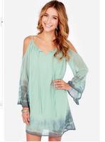 2015 New Europe America Spring Spaghetti Strap V-Neck Knee Length Long Sleeve Chiffon Casual Dresses Flare Sleeve Runway Dress