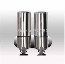 New Stainless Steel Wall Mount Round Shape Liquid Soap Dispenser Dual Box 1000ML(China (Mainland))