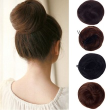 1PC Hot Bun Hair Chignon Synthetic Donut Roller Hairpieces Drawstring Hair Bun Cover Clip in Extensions Ponytail Drop Free