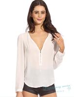 Women V-neck Long-sleeved T-shirt Zipper Chiffon T-shirts Women Casual Tops Free Shipping