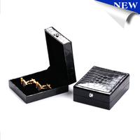 Men's jewelry black cufflinks box Imitation alligator skin