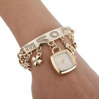 New Fashion Wristwatch Women Dress Chain Watches Metal Sling Hanging rhinestones Casual Wrist Watch Silver Golden B4