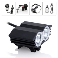 2015 New Free shipping 5000Lumen 2x CREE XML T6 LED Bike Bicycle Front head Light lamp Headlamp Headlight 8.4v Battery Headband