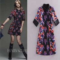 2015 New European and American Women's fashion, Brand quality,Lapel short sleeve,Printed jacquard Slim Dress,Lady/Women dresses