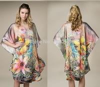 2015 New Summer 100% Mulberry Silk Pajamas Loose Big Yards Lotus Batwing Recreational Leisure Wear Dress Lotus Nightdress