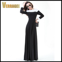 Free Shipping 2015 New Womens Black White Patchwork Flash Knitting Floor Length Long Maxi Dress Girl Slim Plus Size Casual Dress