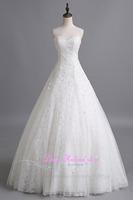 Sexy Vestido De Novias Sweetheart A-line Lace Flower Wedding Dress Bride Customized Floor length Beading Cheap Bridal Gowns 2015