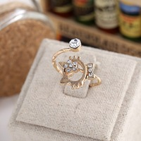 2015 New Rings Jewelry Gold Plated Crystal Opening Small Cat Ring For Woman / Girls