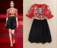 2015 New Women's Fashion in Europe, Big brand high quality,Beaded Jacquard Stitching Lace Dress,Lady/Women dresses FREE SHIPPING