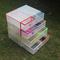 Shoes storage drawer shoe box thickening plastic frame top crystal transparent shoes box