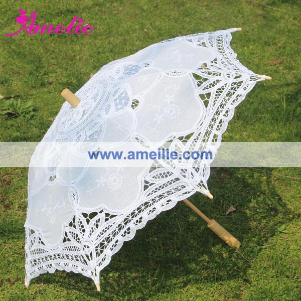 Varejo com grátis frete 38 cm raio algodão Wedding nupcial Parasol decoração para festa de casamento laço branco casamento Umbrella(China (Mainland))