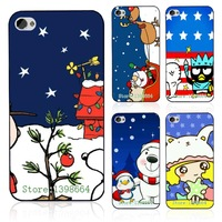 Hot 7pcs/lots Sweet Christmas Festival Cartoon Design Protective Black Hard Case Cover For Iphone 6 4.7 Inch Free Shipping