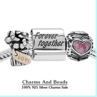 Authentic 925 sterling silver valentine charm sets forever together heart jewelry sets for women fit famous brand bracelets NS83