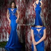 2014 New Rushed Vestido De Festa Longo Sexy Evening Dresses Floor-length Beading With Cascading Stain V-neck Sleeveless_bridalk