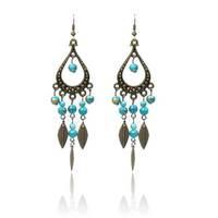 Blue Fashion Bohemian Jewelry Vintage Style Hollow Out Flower Chandelier Dangle Earrings