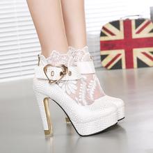 2015 summer cutout lace gauze women's shoes thick heel platform boots shoes lace up women shoes(China (Mainland))