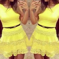 2015 Sexy Club Dress Plus vestido de festa Lace Sleeveless Women Party Dresses Floral Yellow Evening Party Club Mini cute Dress