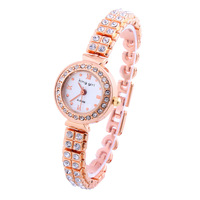 New Casual Style Round Dial Sports Watch Women Quartz Watches Rhinestone Fashion Alloy Band Analog Roman Casual Wristwatches