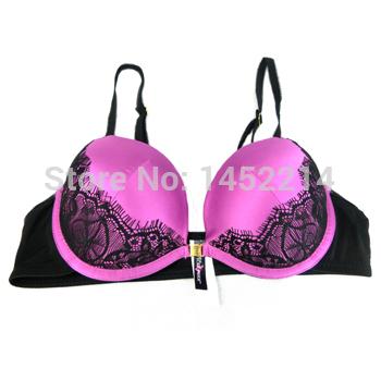 2015 women sexy bra set Purple color have 32B/34B/36B front closure girl's Favourite(China (Mainland))