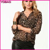 2015 HOT Sale!! New Spring and Summer Fashion Women's Wild Leopard Shirt Casual Loose Chiffon Shirt 8092z Plus Size S-XXXXL/4XL