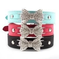 Bling Diamond Bowknot PU Leather Dog Pet Collar Puppy Choker Cat Necklace XS S M Wholesale Free Shipping