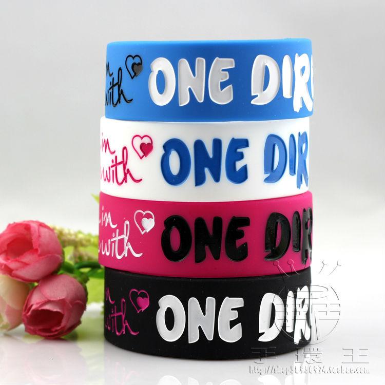 One Direction Bracelet elastic rainbow Silicone Wristband rubber band braclet(China (Mainland))