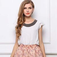 2014 Summer Women Loose Chiffon Shirt Beading Ruffle Sleeve Woman Tops Ladies O-Neck All-Match Shirt Plus Size S-XXL 2