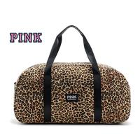 2015 Hot Victoria  love pink leopard Large Travel  Striped Beach Bag Work Shoulder  Bag  Shopping Message Bag Vs  a1002